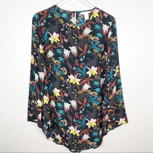 H&M | Floral long Sleeve Tunic Blouse